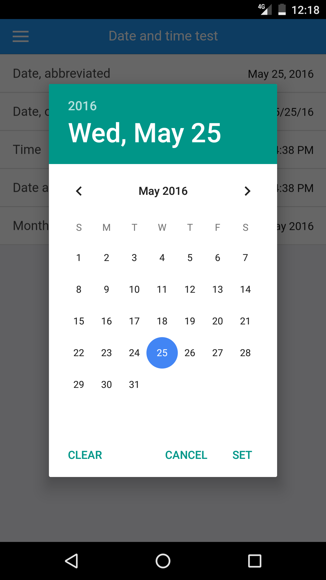 Selecting a date on Android