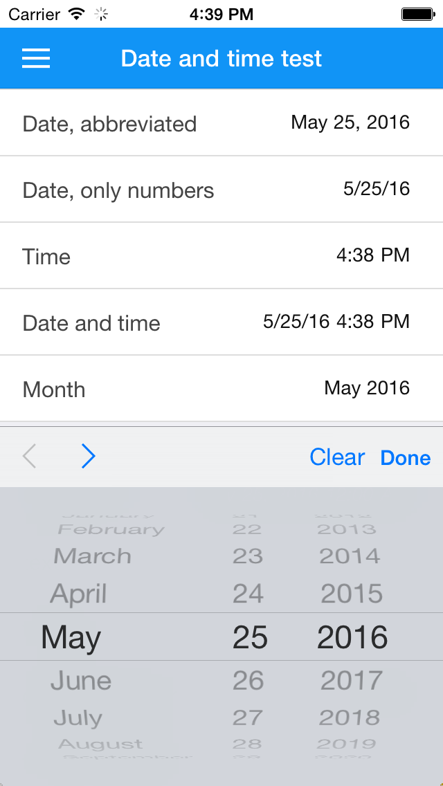 Selecting a date on iOS