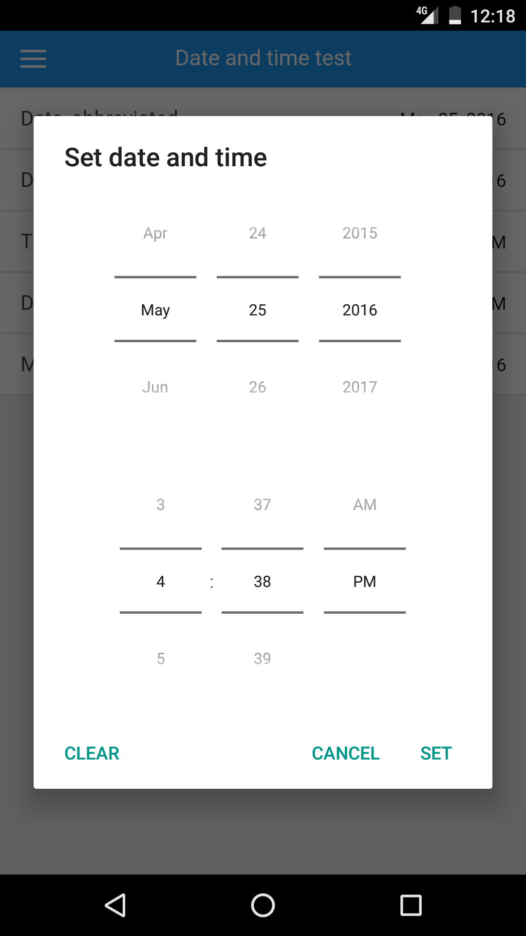 Selecting a date and time on Android