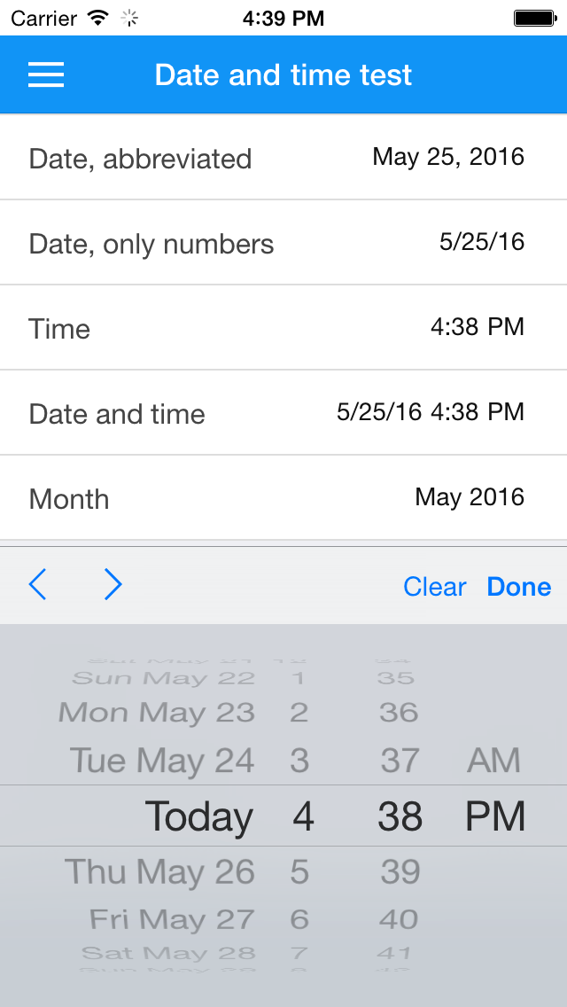 Selecting a date and time on iOS