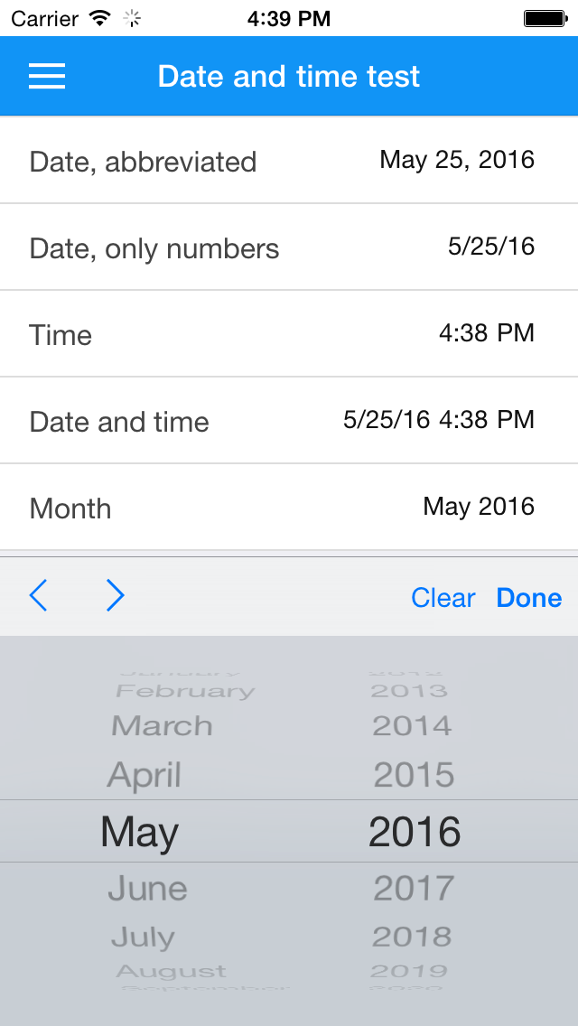 Selecting a month on iOS