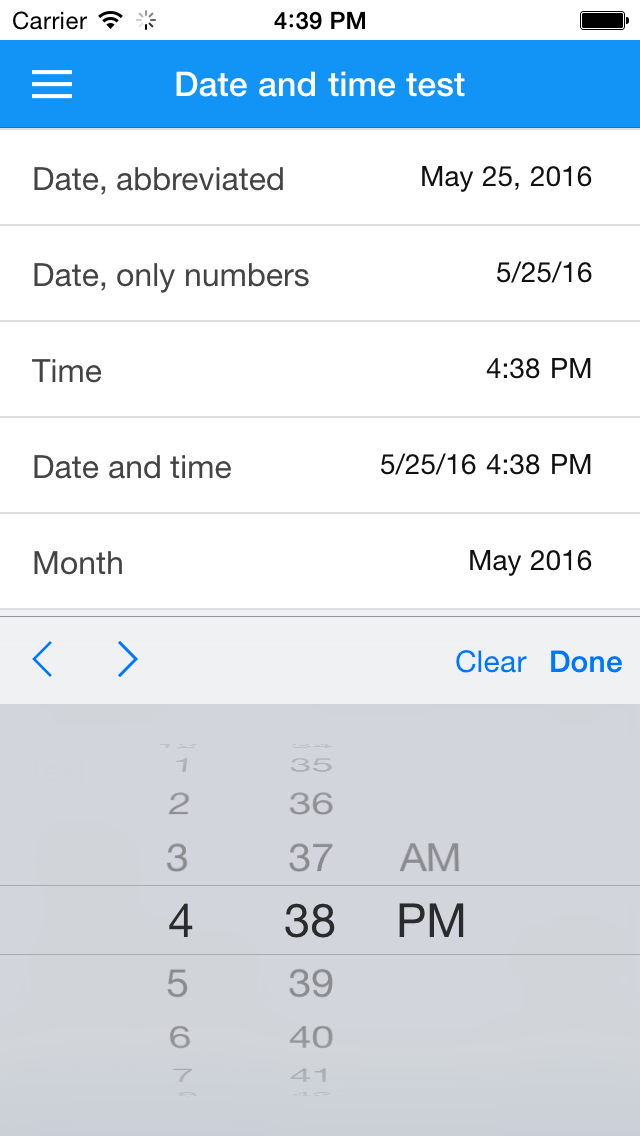 Selecting a time on iOS