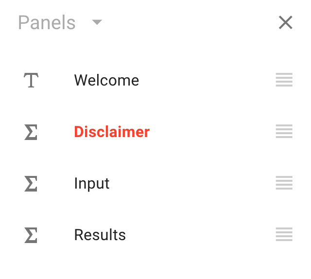 The Panels sidebar, displayed as a list with an erroneous panel