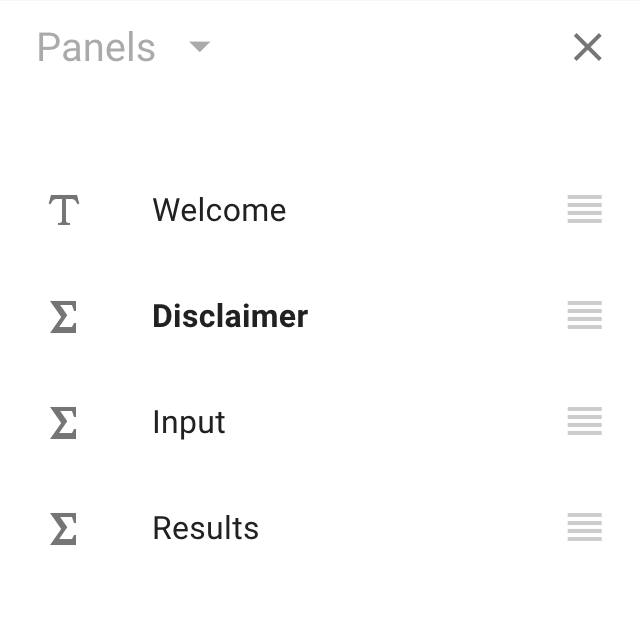 The Panels sidebar, displayed as a list