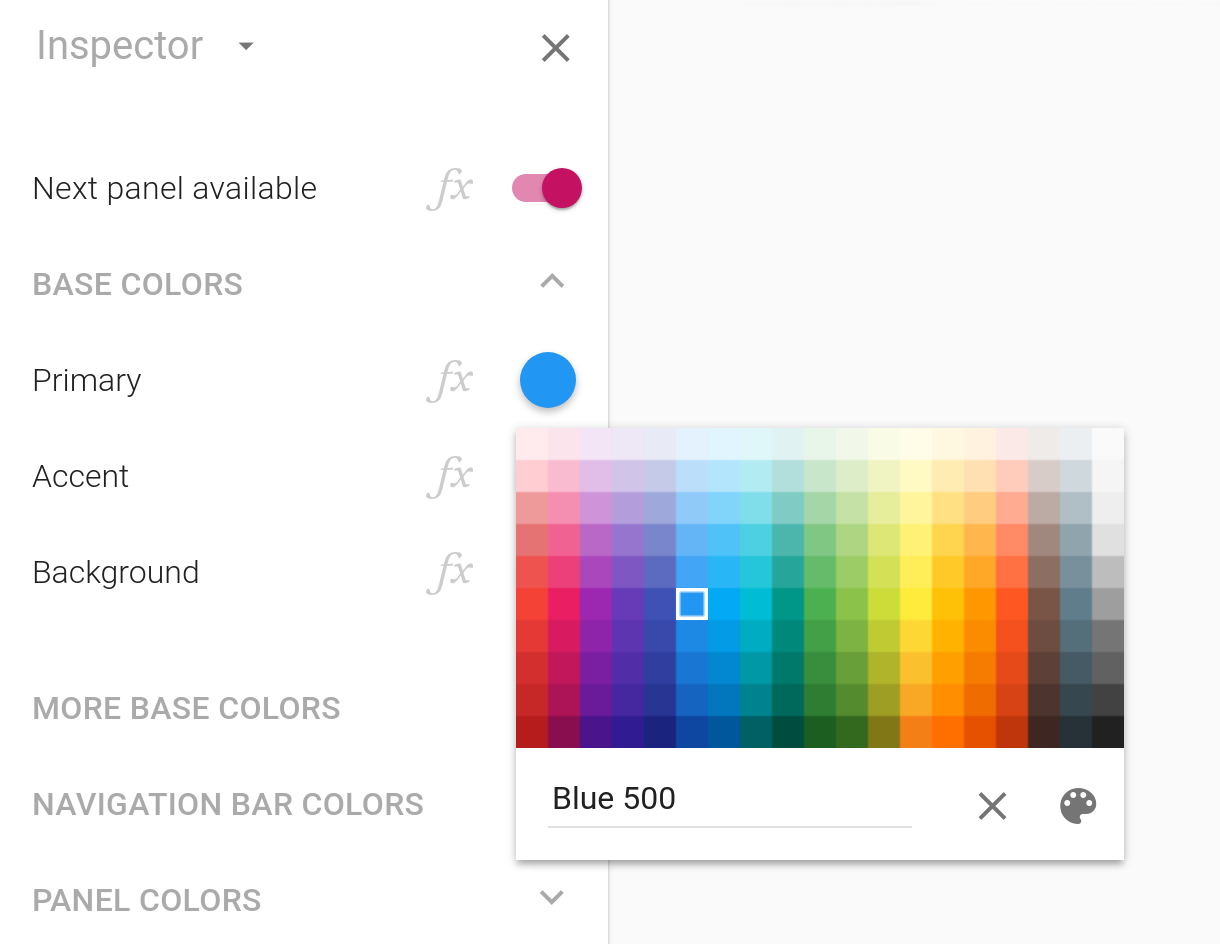 The color picker displaying its palette