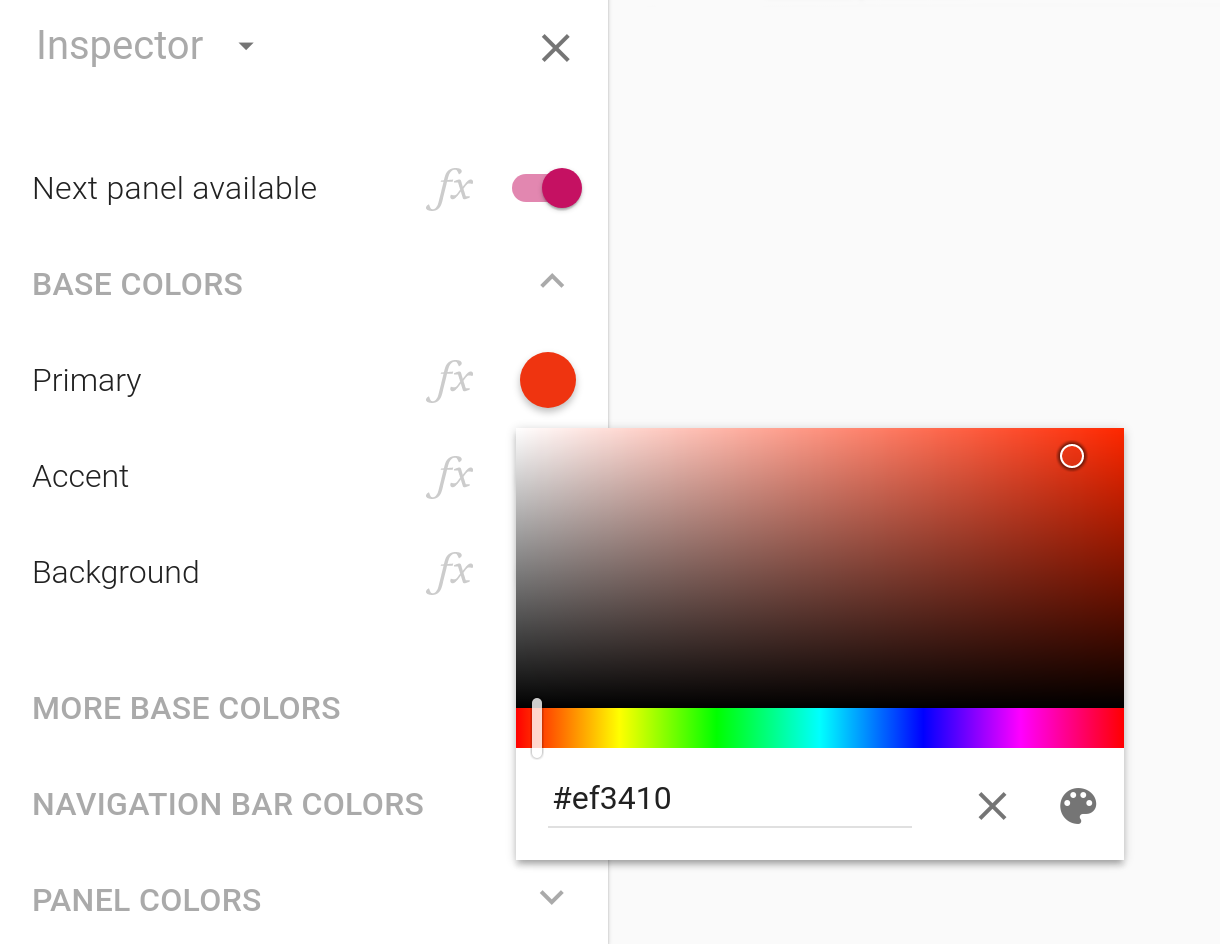 The color picker displaying its full range of colors
