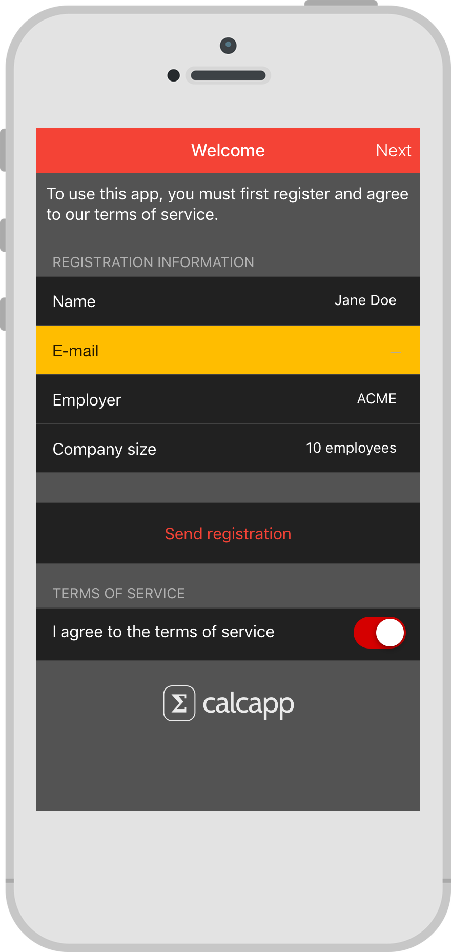 A registration form with a custom color scheme