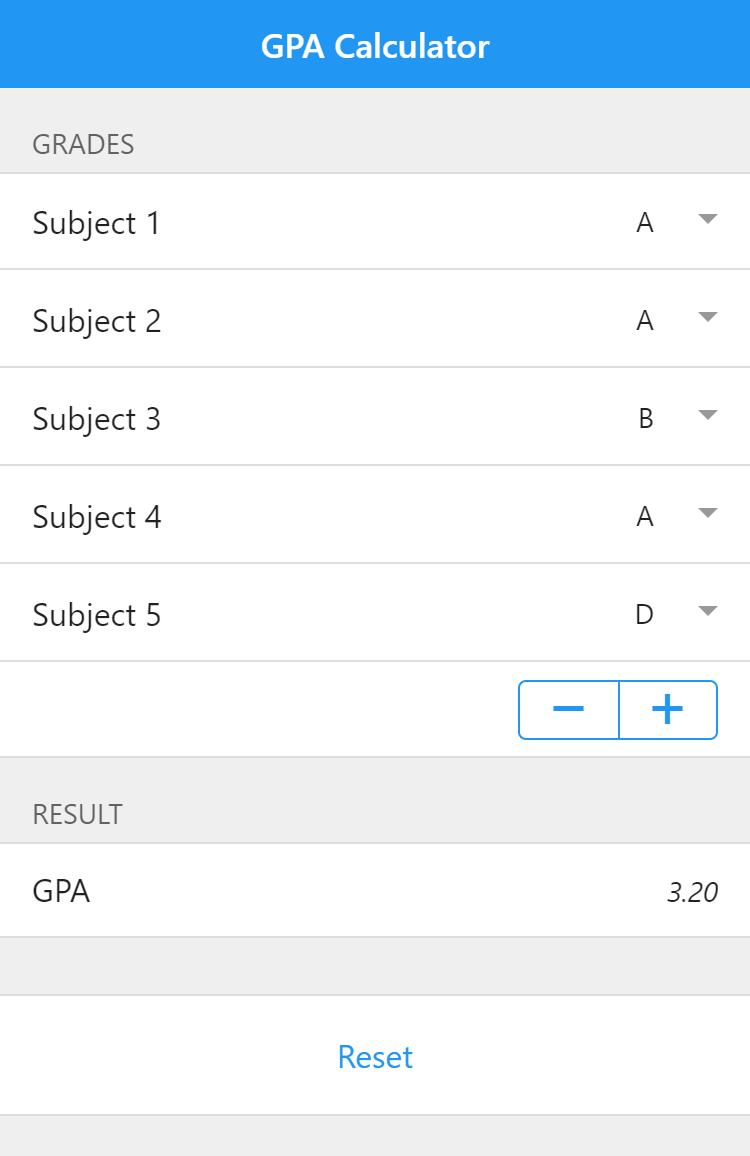 A GPA calculator with one to ten subjects, depending on the user