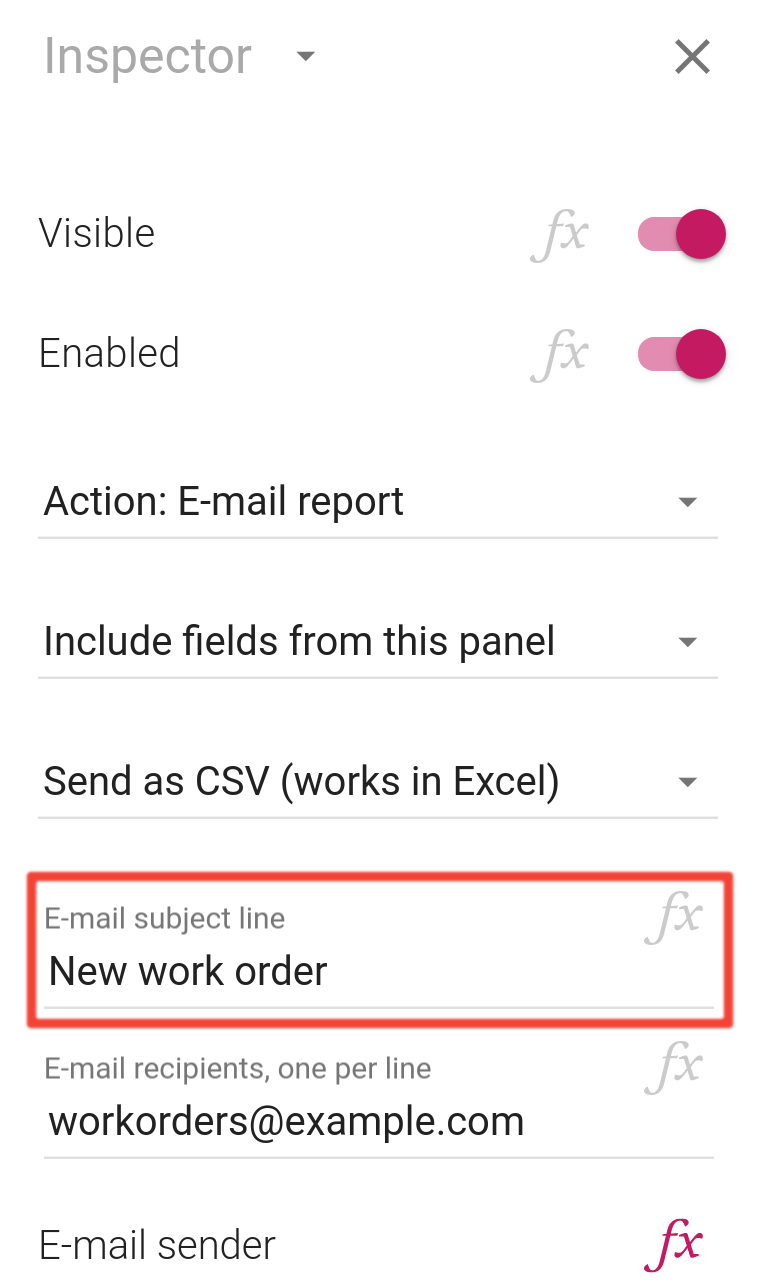 The new subject line property in the inspector