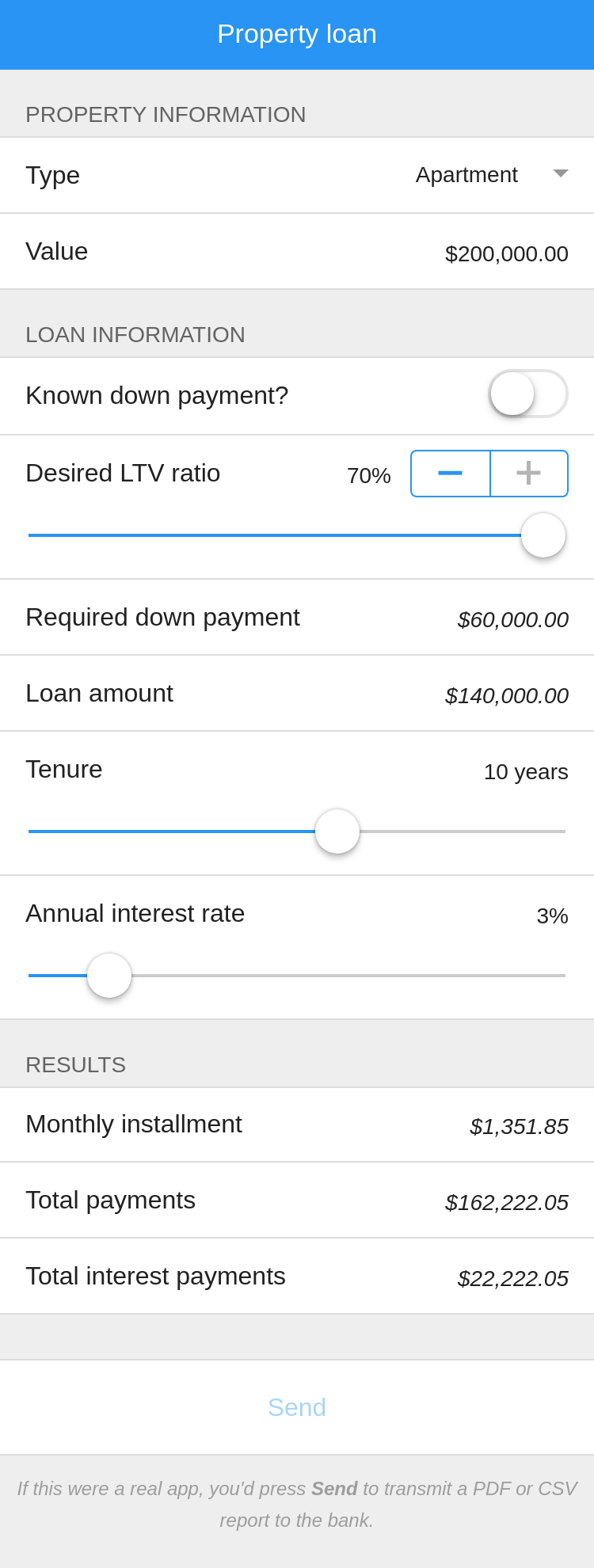 The mortgages app