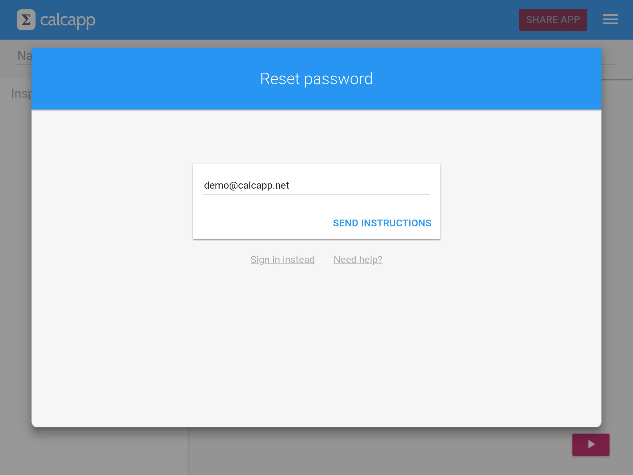 The password reset screen