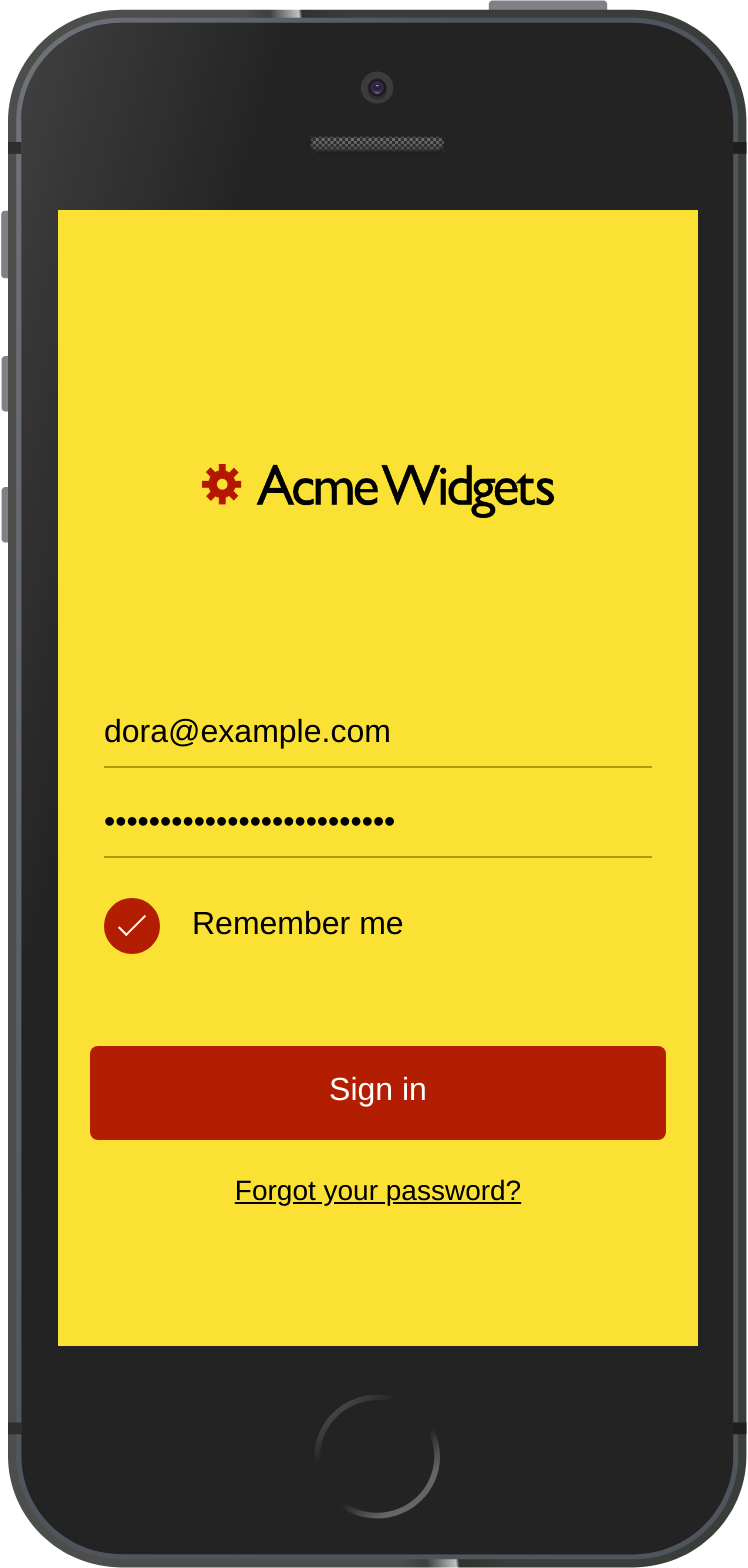 A branded version of the user sign-in screen