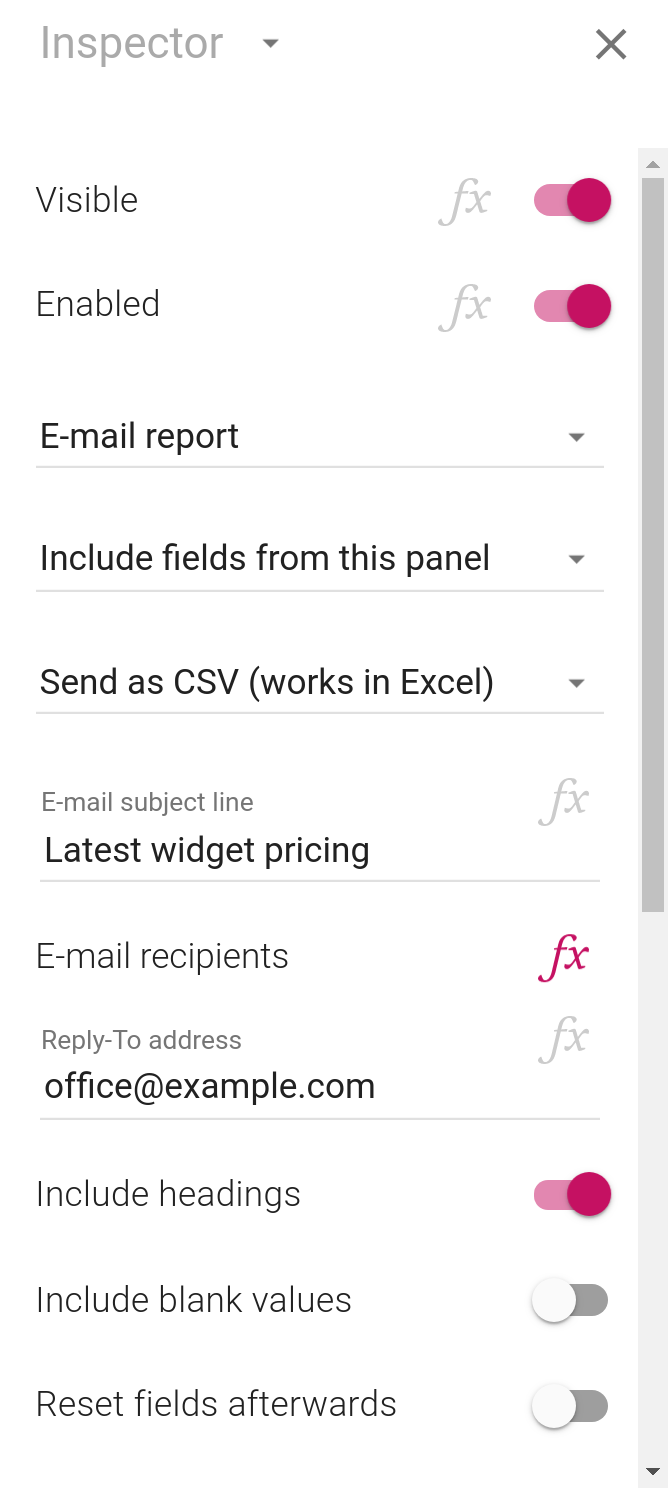 The inspector showing the new layout of e-mail buttons