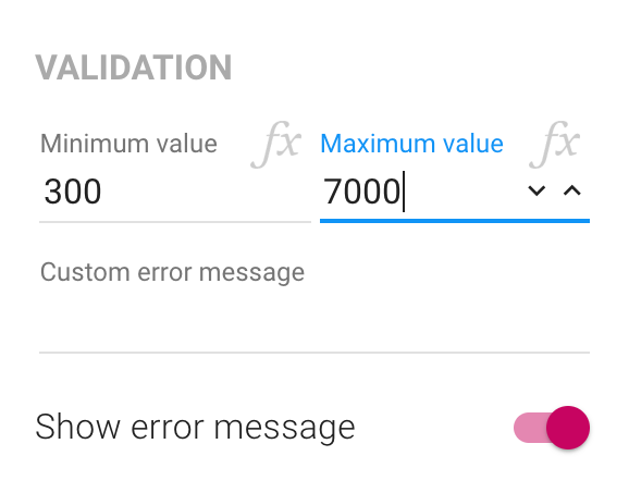 The validation section of the inspector for number fields