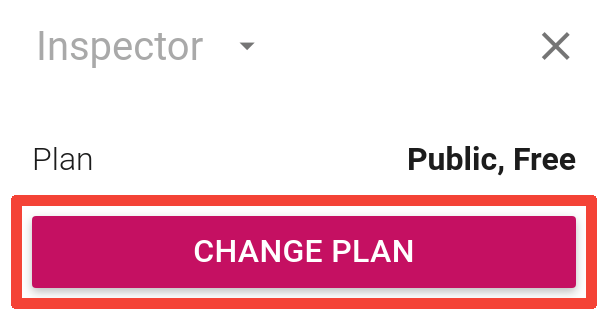 The inspector with its Change plan button marked
