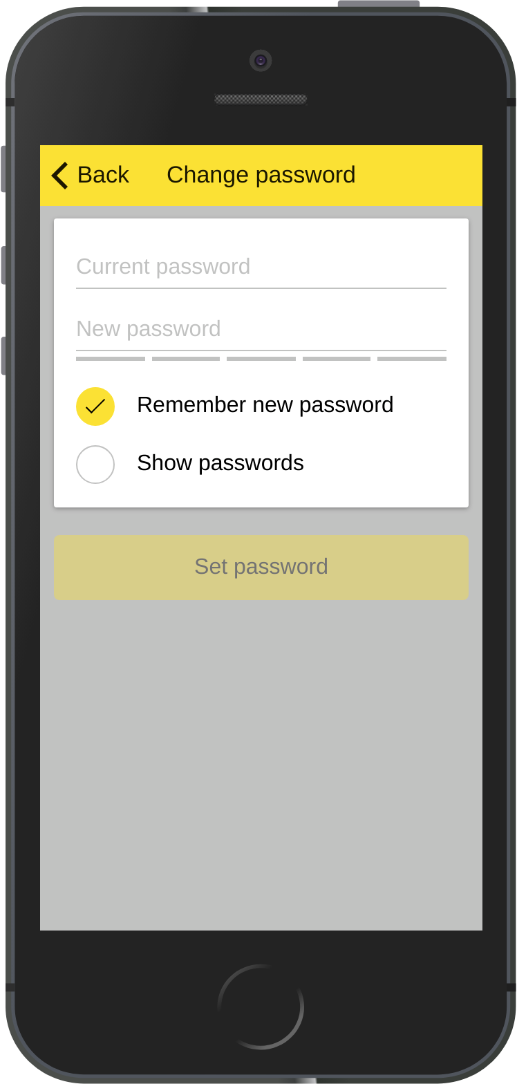 The screen enabling users of private apps to change their               passwords