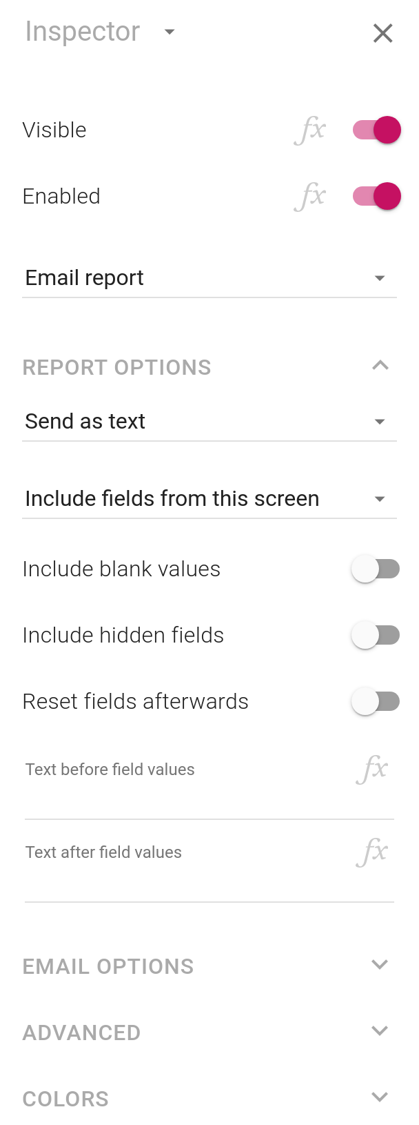 The inspector properties for e-mail reporting buttons